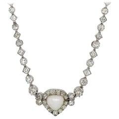 Belle Époque Opal Diamond Platinum Necklace