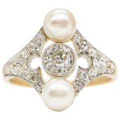 Belle Époque Original Diamond and Natural Pearl Ring