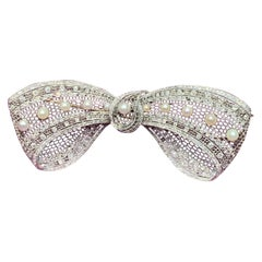 Belle Époque Pearl and Diamond Bow Brooch