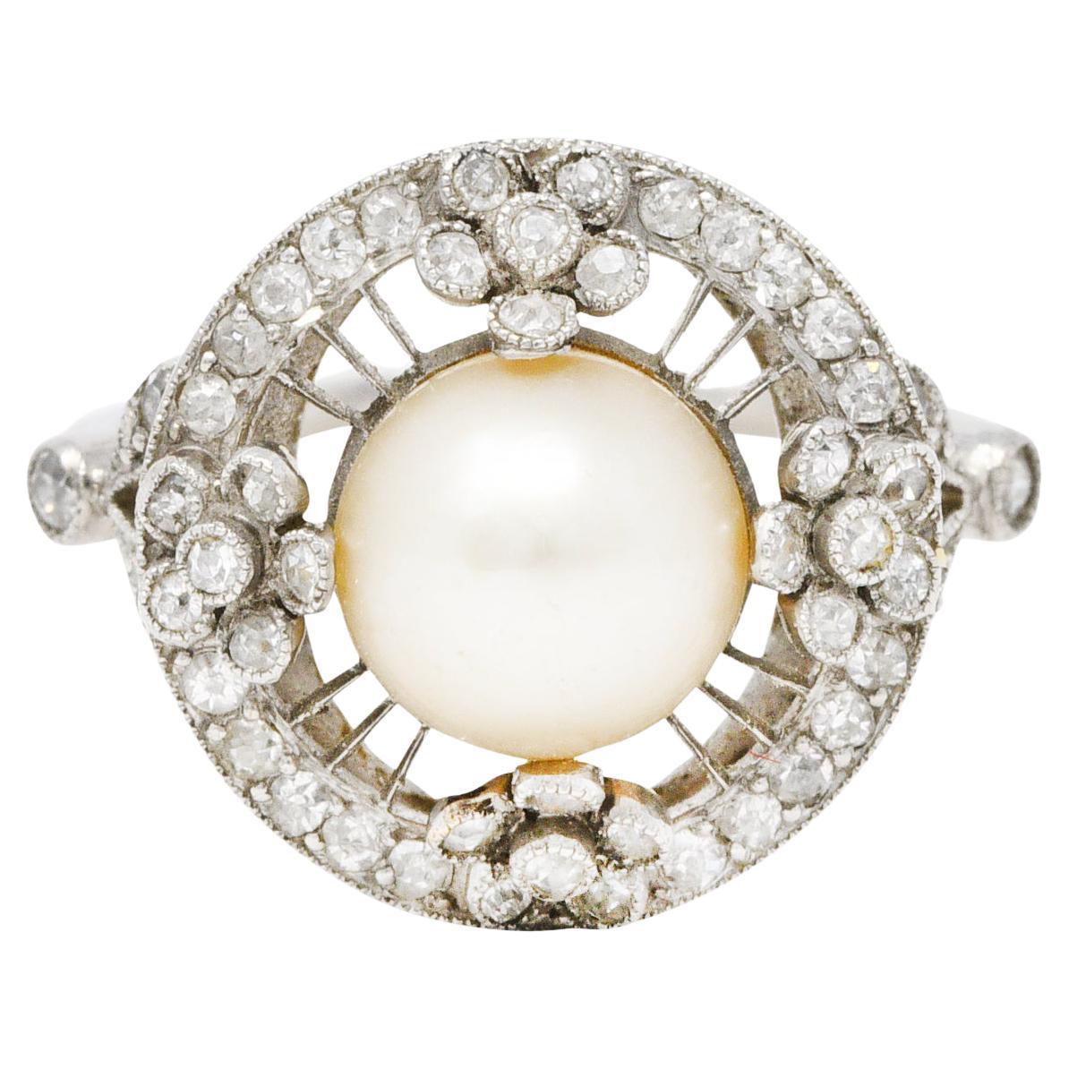 Belle Epoque Pearl Diamond Platinum Floral Cluster Ring