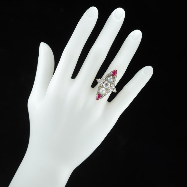 Old European Cut Belle Epoque Pearl, Ruby and Diamond Ring For Sale