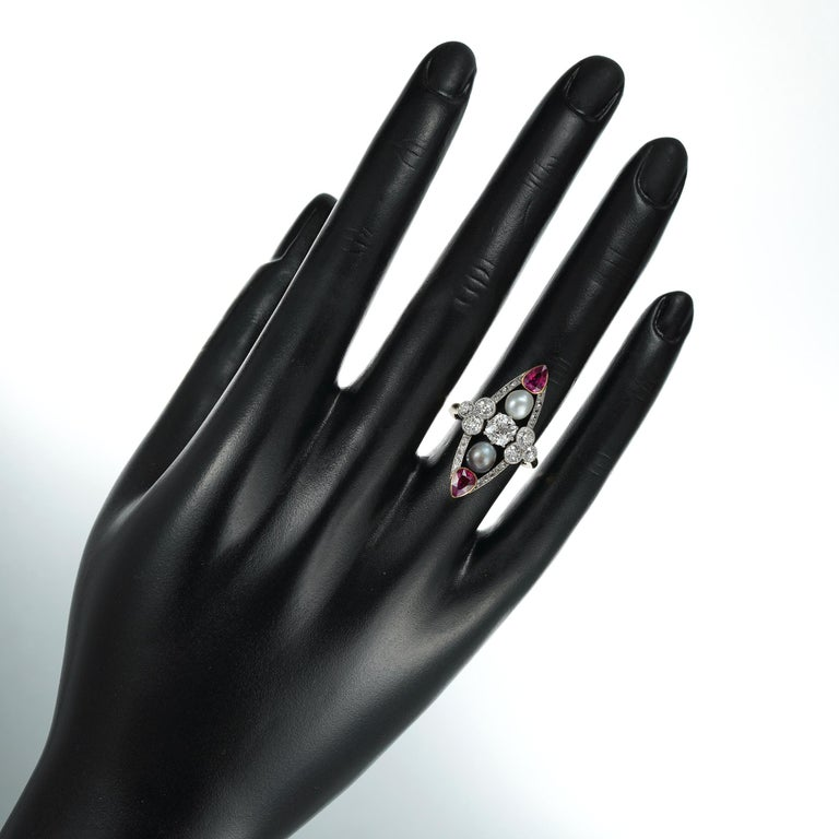 Belle Epoque Pearl, Ruby and Diamond Ring In Good Condition For Sale In London, GB