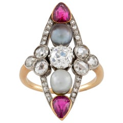 Belle Epoque Pearl, Ruby and Diamond Ring