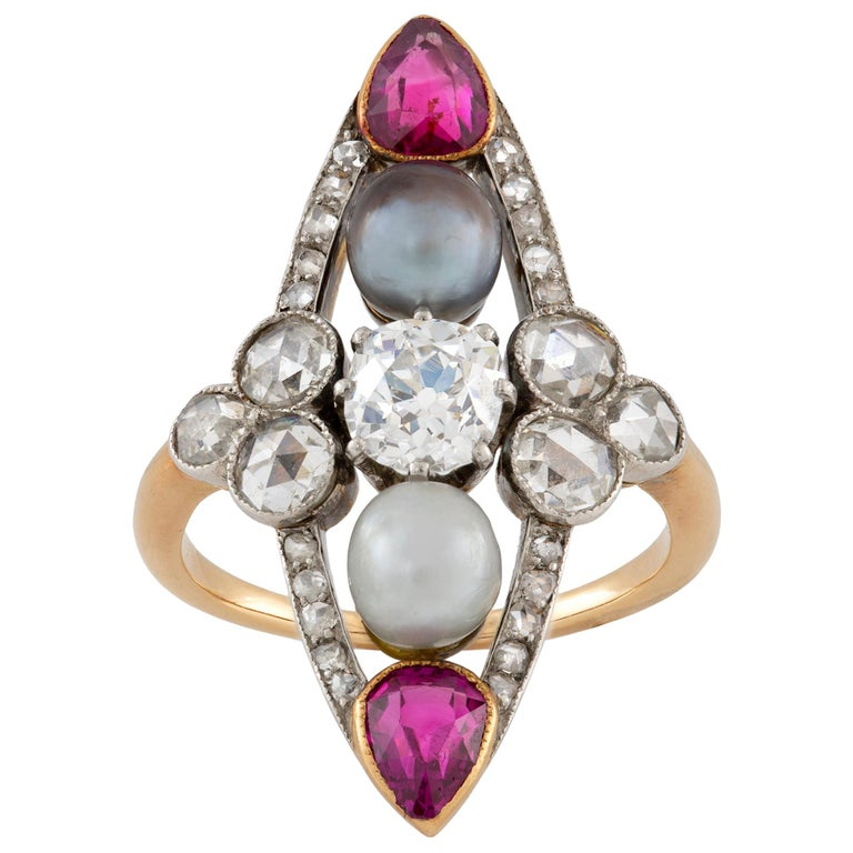 Belle Epoque Pearl, Ruby and Diamond Ring For Sale