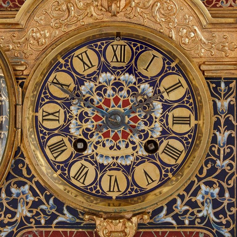 French Belle Époque Period Gilt Bronze and Enamel Clock Set For Sale