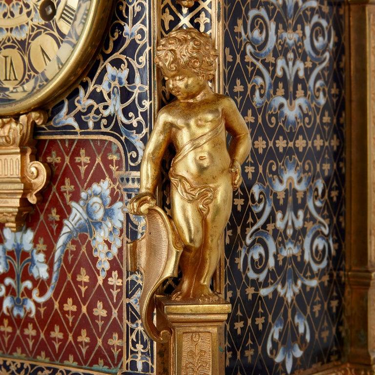 Champlevé Belle Époque Period Gilt Bronze and Enamel Clock Set For Sale