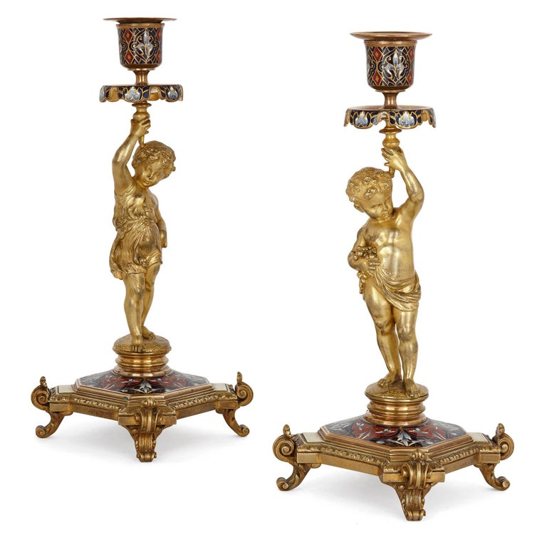 Belle Époque Period Gilt Bronze and Enamel Clock Set In Good Condition For Sale In London, GB