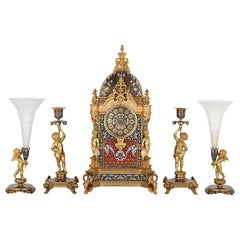 Belle Époque Period Gilt Bronze and Enamel Clock Set