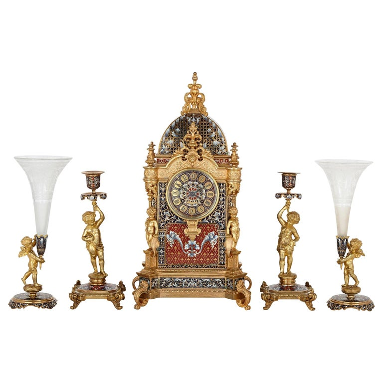Belle Époque Period Gilt Bronze and Enamel Clock Set For Sale