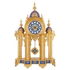 Belle Époque Period Ormolu and Porcelain Mantel Clock in Moorish Style