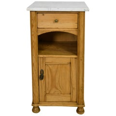 Belle Époque Pine Nightstand/ Pot Cupboard with White Carrara Marble Top