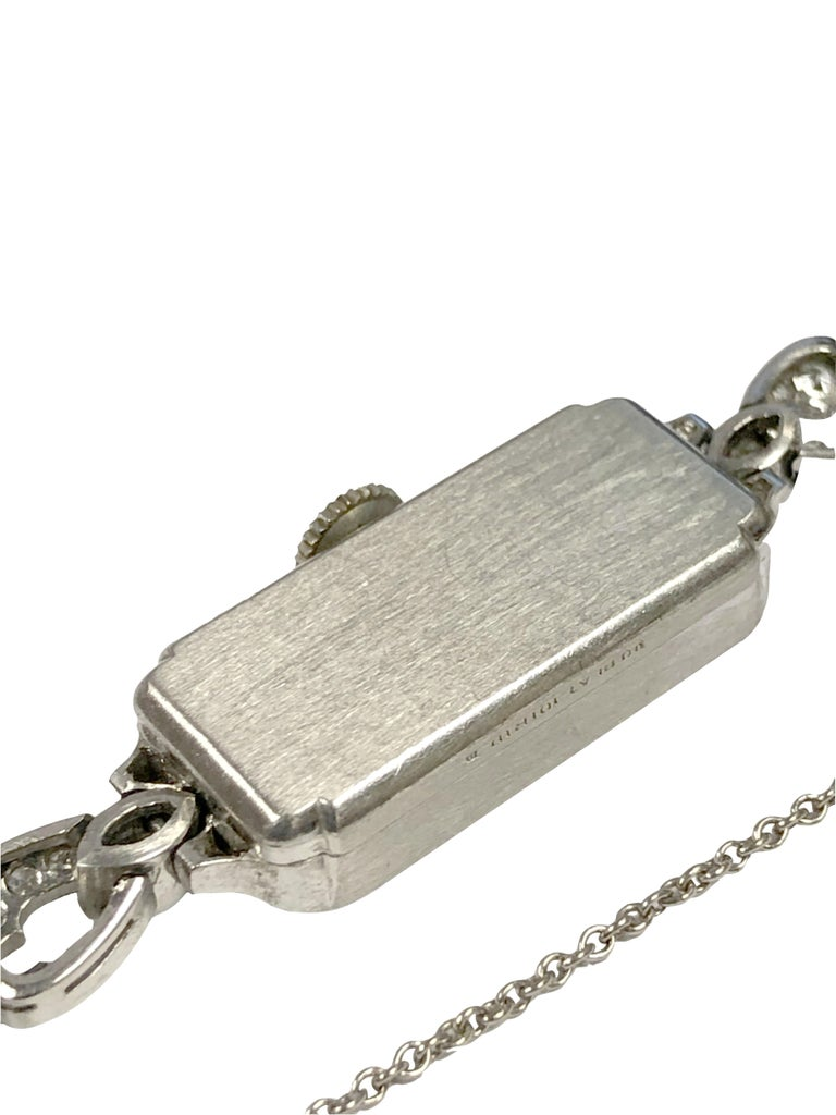 Baguette Cut Belle Epoque Platinum Diamonds and Pearl Ladies Mechanical Wrist Watch