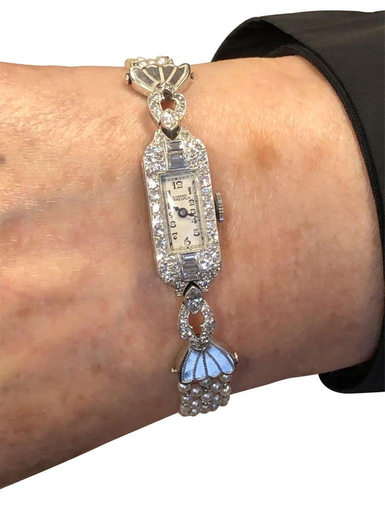 Belle Epoque Platinum Diamonds and Pearl Ladies Mechanical Wrist Watch 1