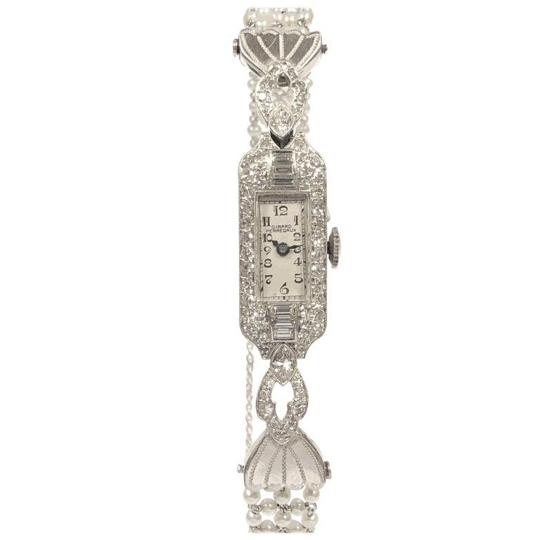 Belle Epoque Platinum Diamonds and Pearl Ladies Mechanical Wrist Watch