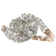 Belle Epoque Romantic Diamond Toi et Moi Engagement Ring, French for You and Me