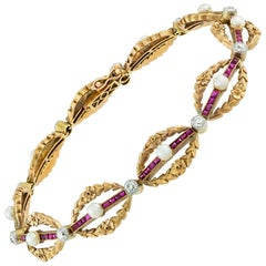 Belle Époque Ruby, Diamond and Pearl Bracelet
