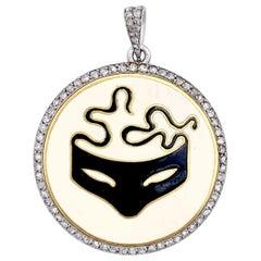 Belle Époque Cantacuzene Initials Masked Ball Diamond Gold Platinum Pendant