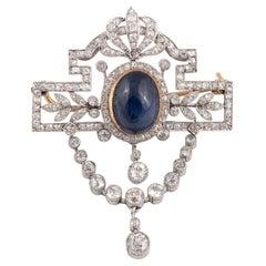 Belle Époque Sapphire and Diamond Brooch or Pendant