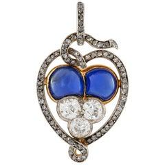 Belle Époque Sapphire and Diamond Pendant