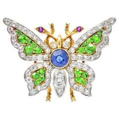 Belle Epoque Sapphire Demantoid Ruby Diamond & Platinum 18K Gold Butterfly Pin