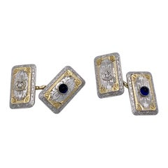 Belle Époque Sapphire Diamond Platinum 14 Karat Yellow Gold Cufflinks