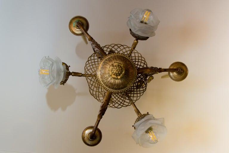 Belle Époque Seven-Light Bronze Basket Chandelier For Sale 5