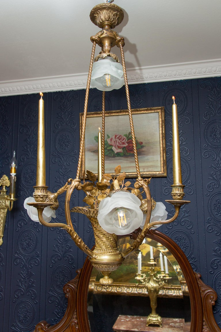 Belle Époque Seven-Light Bronze Basket Chandelier For Sale 9