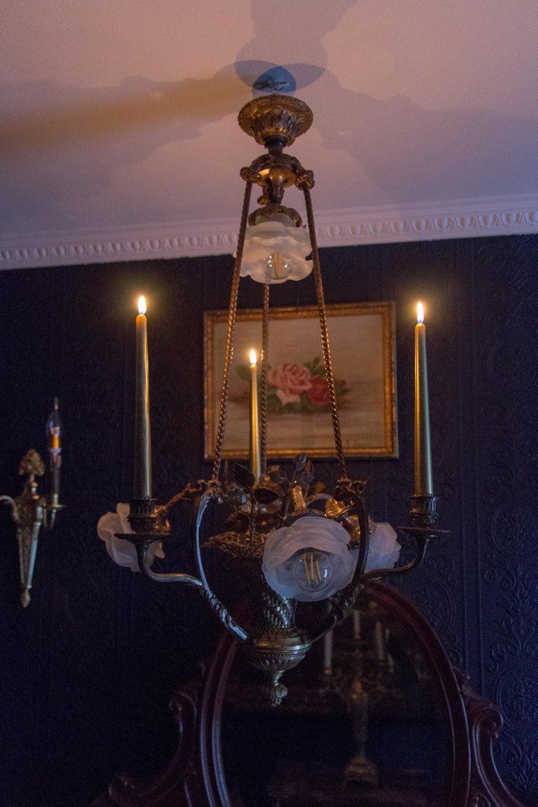 Belle Époque Seven-Light Bronze Basket Chandelier For Sale 10