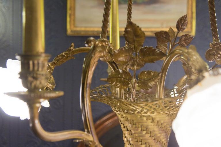 Belle Époque Seven-Light Bronze Basket Chandelier For Sale 11