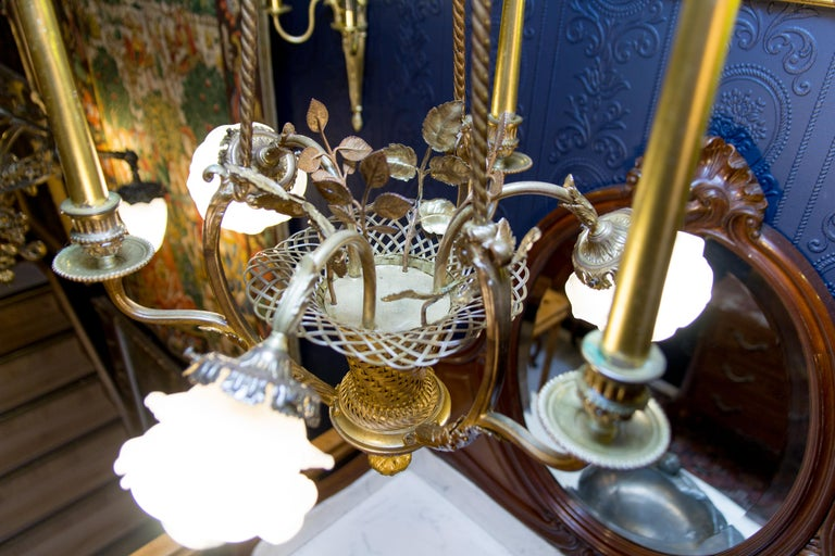 Belle Époque Seven-Light Bronze Basket Chandelier For Sale 12