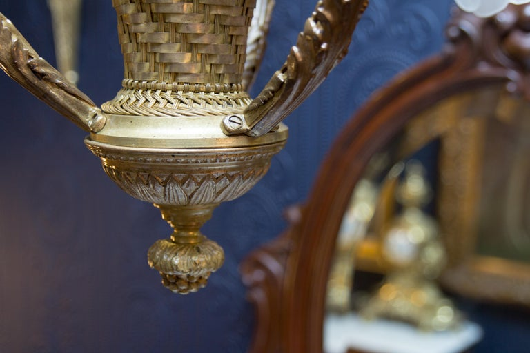Belle Époque Seven-Light Bronze Basket Chandelier For Sale 14