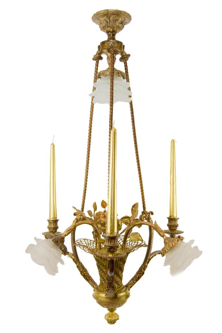 Belle Époque Seven-Light Bronze Basket Chandelier For Sale 15