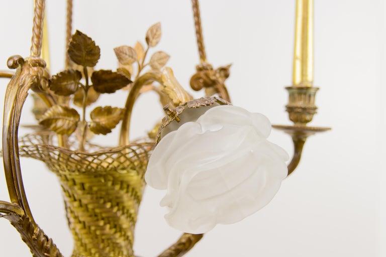 French Belle Époque Seven-Light Bronze Basket Chandelier For Sale