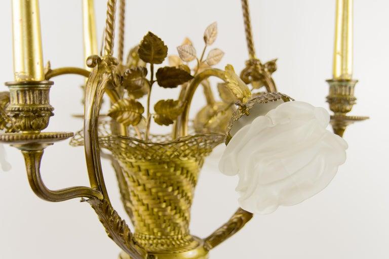 Belle Époque Seven-Light Bronze Basket Chandelier In Good Condition For Sale In Barntrup, DE