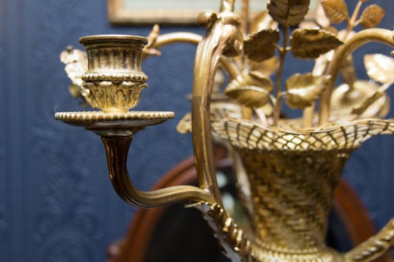 Early 20th Century Belle Époque Seven-Light Bronze Basket Chandelier For Sale