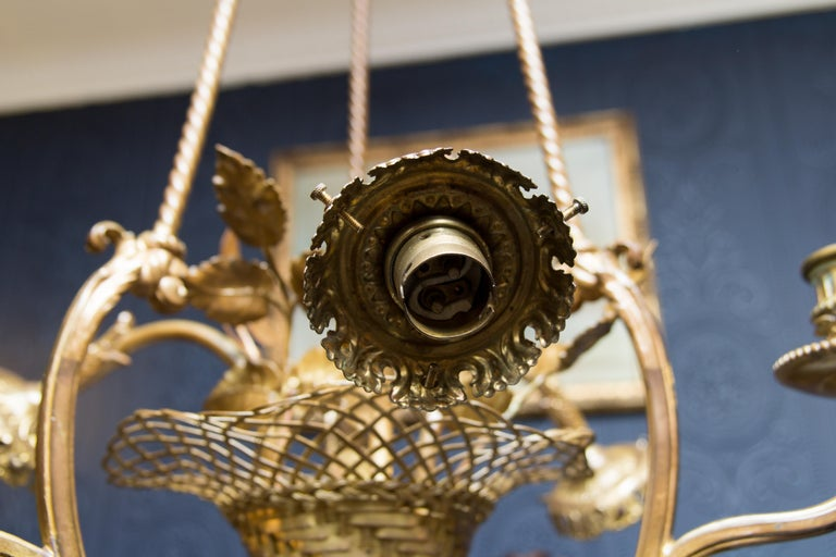Belle Époque Seven-Light Bronze Basket Chandelier For Sale 1