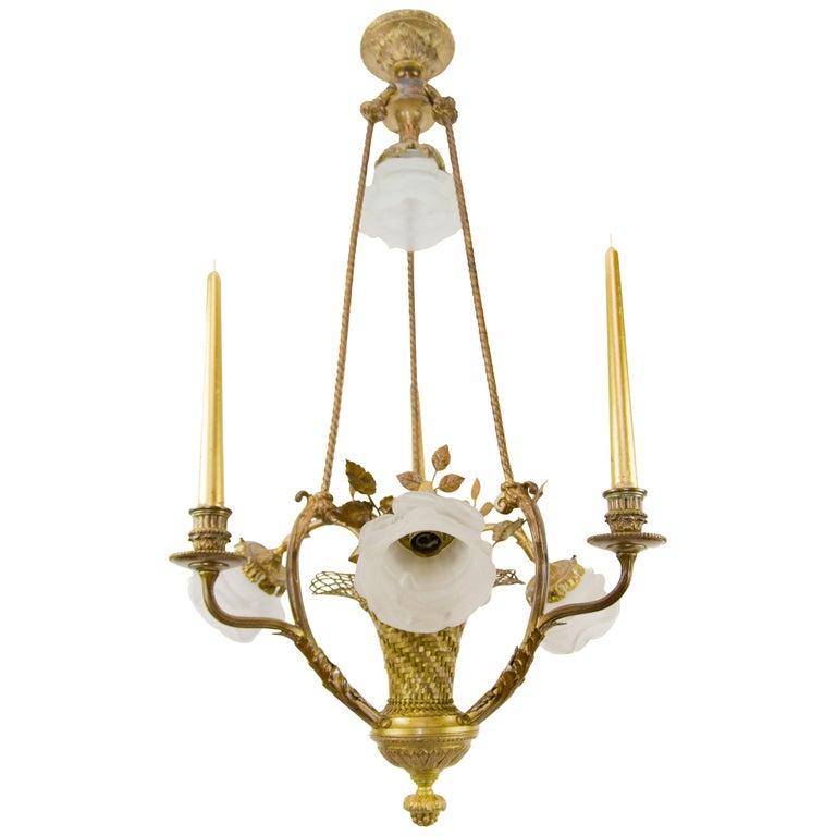 Belle Époque Seven-Light Bronze Basket Chandelier For Sale
