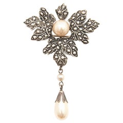 Vintage Pearls And Silver Maple Leaf Brooch