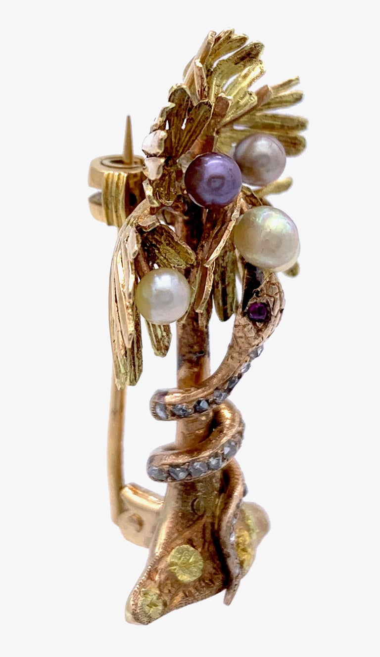 This wonderful piece of jewellery is made out of three different shades of 18k gold and shows a rose diamond set snake curling itself around the trunk of a Palm tree.  It's finely engraved head with rubys set eyes is looking up to the treetop which