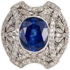 Belle Époque Style 6.00 Carat Blue Sapphire and Diamond Platinum Ring