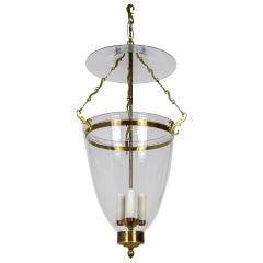 Belle Epoque Style Brass & Glass Bell Jar Lantern w/ Smoke Bell & Swirling Chain