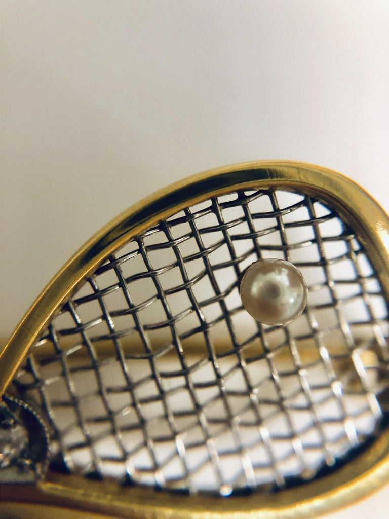 Belle Époque Belle Epoque Tennis Brooch with Diamond, Ruby and Pearl For Sale
