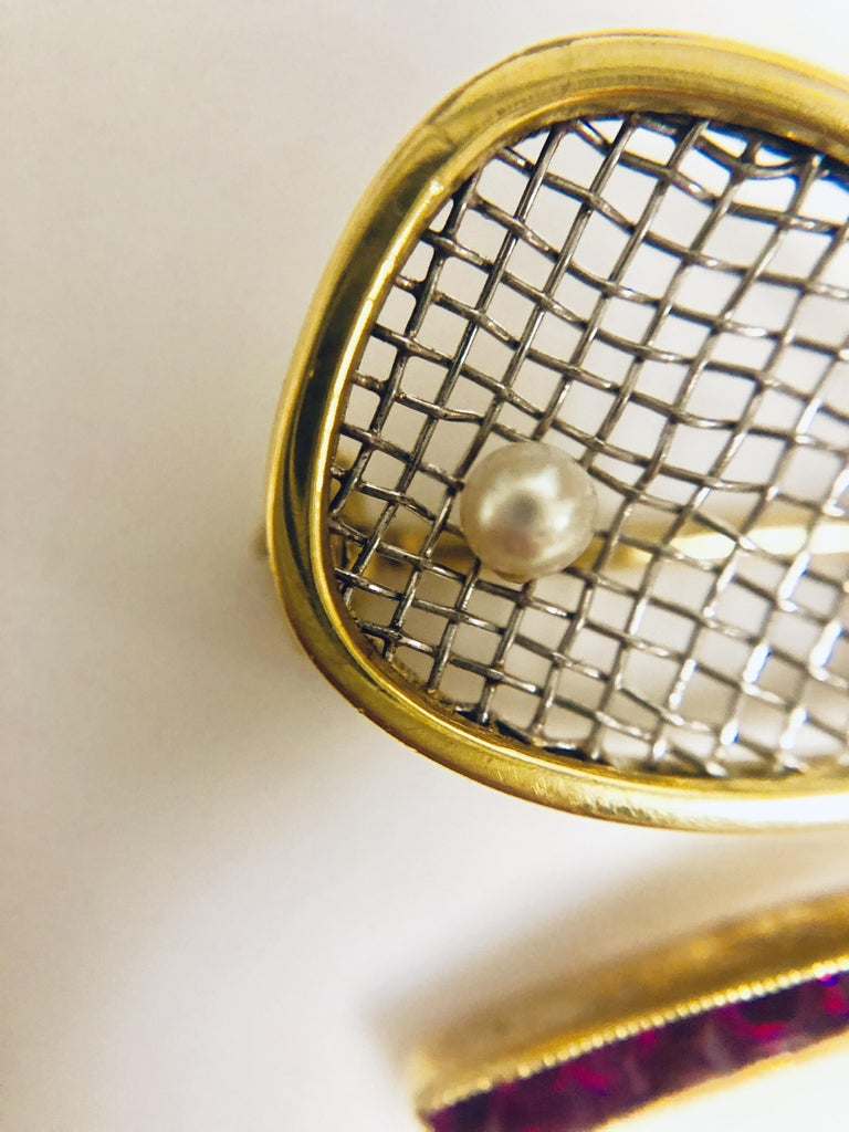 Belle Epoque Tennis Brooch with Diamond, Ruby and Pearl In Excellent Condition For Sale In New York, NY