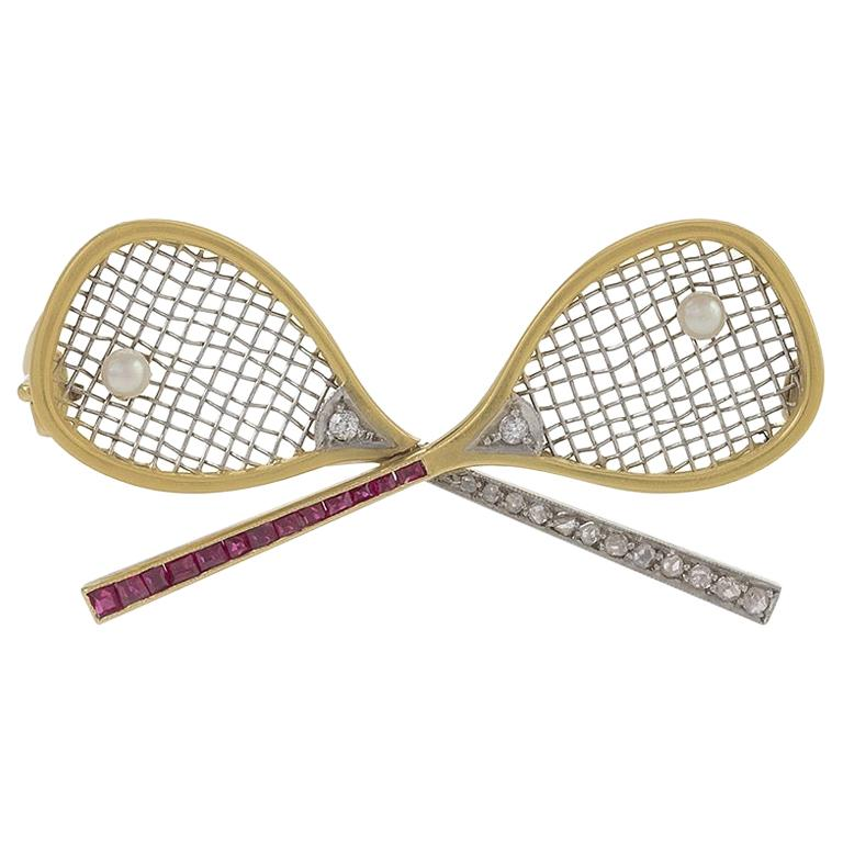 Belle Epoque Tennis Brooch with Diamond, Ruby and Pearl For Sale