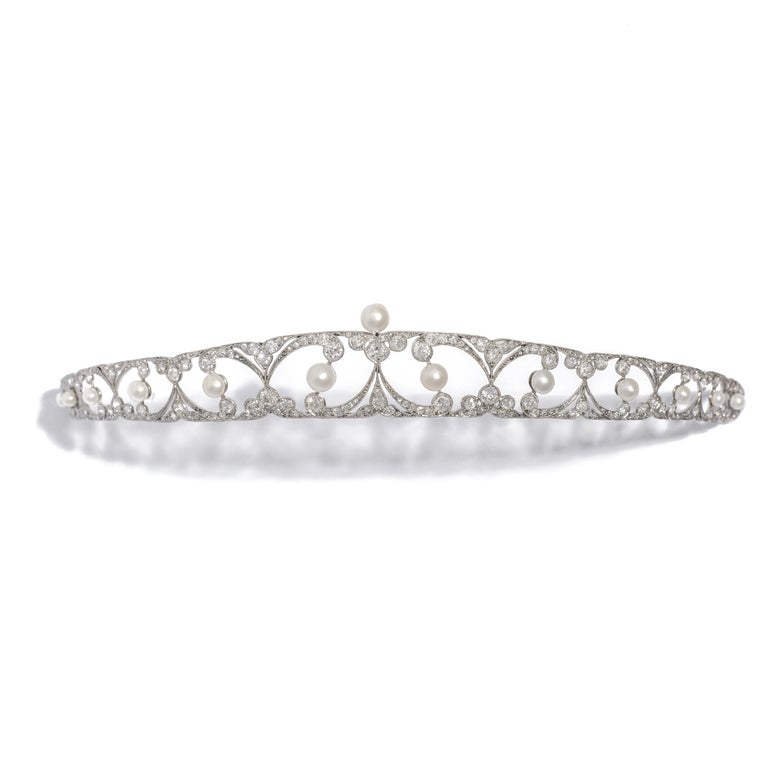 Belle Époque Belle Epoque Tiara Diamond and Pearl For Sale