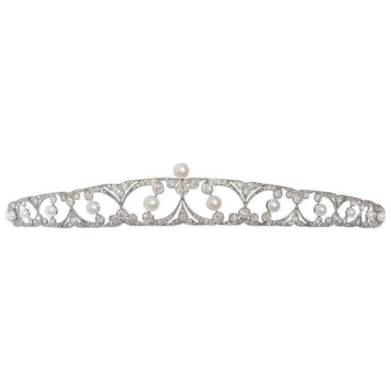 Belle Epoque Tiara Diamond and Pearl For Sale