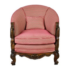Belle Époque Upholstered Club Chair in Rose-Colored Cut Velvet with Carved Swans