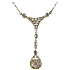 Belle Époque White Gold and Diamond Pendant Necklace, circa 1905