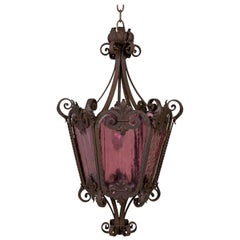 Belle Epoque Wrought Iron Lantern with Purple Glass