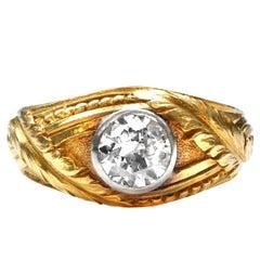 Belle Époque Old European Cut Diamond 18 Karat Yellow Gold and Platinum Ring